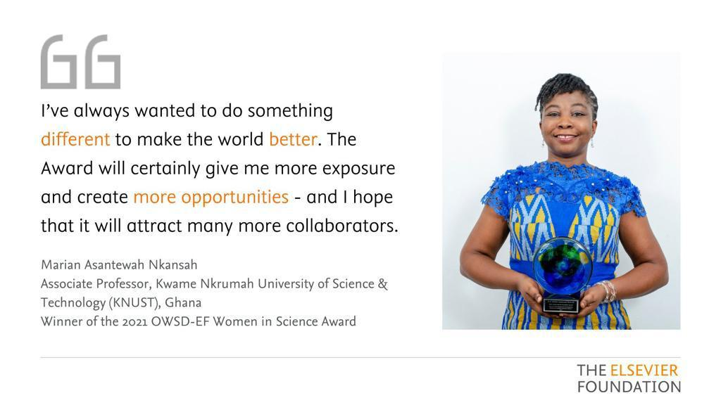 Prof. Marian Nkansah  2021 OWSD-Elsevier Foundation Award