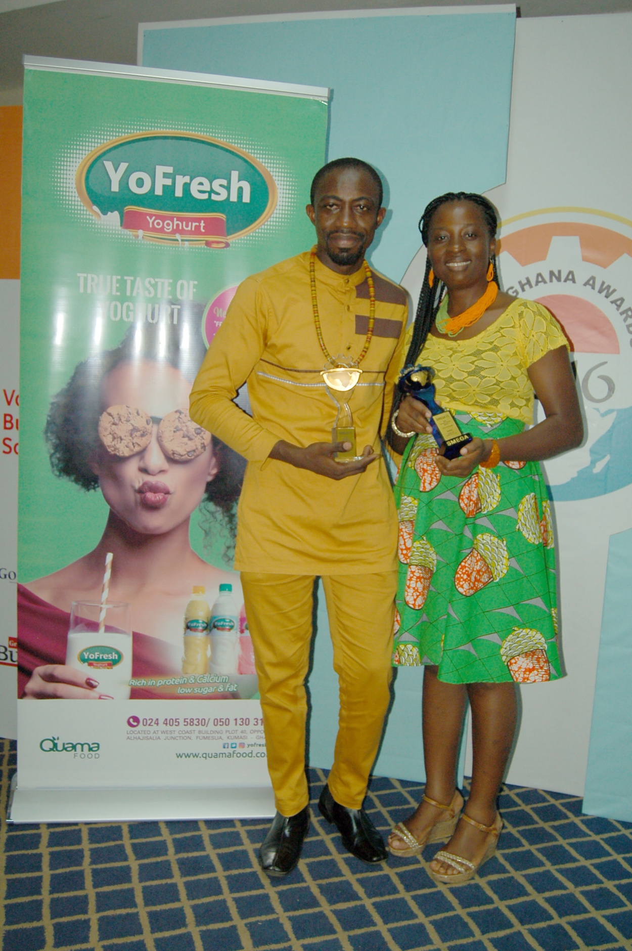 Mr and Mrs Owusu Mensah Showcasing the two awards